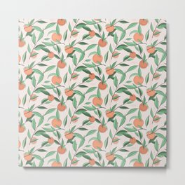 Peach and leaves Metal Print