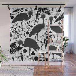 Black crowned crane with grass and flowers black silhouette Wall Mural