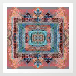 Psychedelic Boho Persian Rug Tapestry Print Art Print