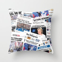 Hillary 2016 Historic Front Pages Throw Pillow