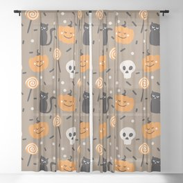 Happy halloween cats, skulls, pumpkins and sweets pattern Sheer Curtain