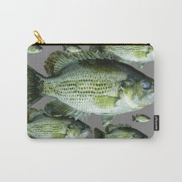 SCHOOL OF GREEN FISH  IN GREY Carry-All Pouch