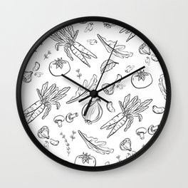Eat Your Veggies - in black and white Wall Clock