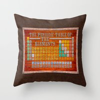periodic table Throw Pillows featuring Vintage Industrial Periodic Table Of The Elements by Mark E Tisdale