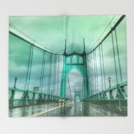 St John's Bridge Portland Oregon Throw Blanket