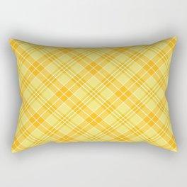 Yellow Diagonal Plaid Pattern Rectangular Pillow