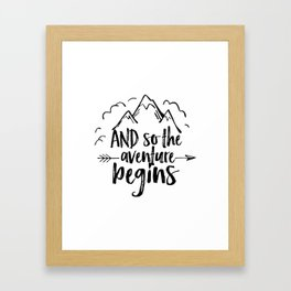 INSPIRATIONAL Quote,And So The Adventure Begins,Adventure Awaits,Kids Room Decor,Nursery Art Framed Art Print