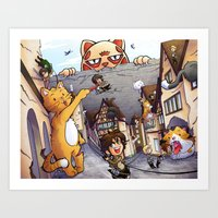 attack on titan Art Prints featuring Attack on Kitten - Attack on Titan by Cute-Loot