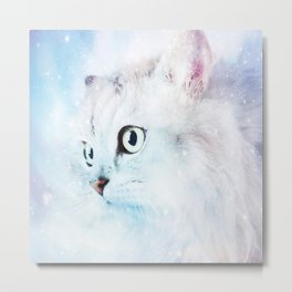 Fluffy starry cat Metal Print