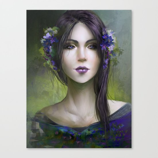 Viola - Girl with purple flowers in her hair Canvas Print