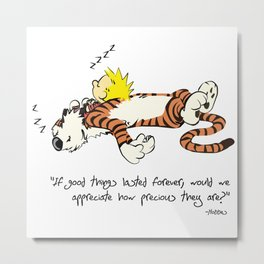 Calvin And Hobbes Quote Metal Print