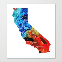 California - Map Counties by Sharon Cummings Canvas Print
