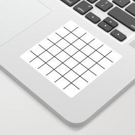Black and White Thin Grid Graph Sticker