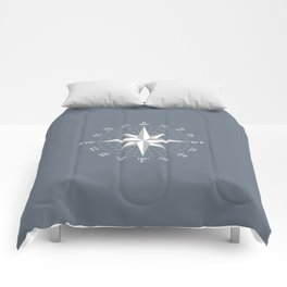 Compass in White on Slate Grey color Comforters