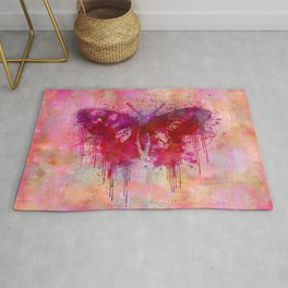 Artsy butterfly watercolor lllustration Rug