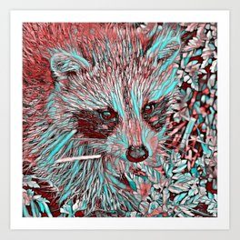 ColorMix Raccoon Art Print