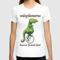 pocket fuel T-shirts featuring Unicyclesaurus: Burning Fossil Fuel by Nomadic Concepts/Julia Shahin Collard