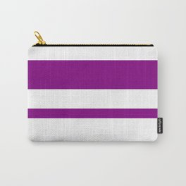 Mixed Horizontal Stripes - White and Purple Violet Carry-All Pouch