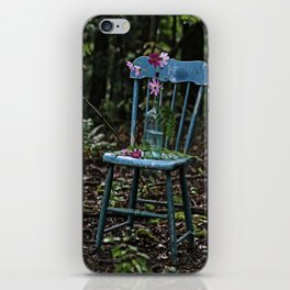Blue Chair with Flowers iPhone Skin