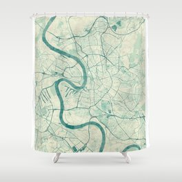 Dusseldorf Map Blue Vintage Shower Curtain