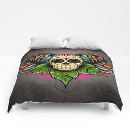 Sugar Skull and Roses - Day of the Dead Calavera Comforters