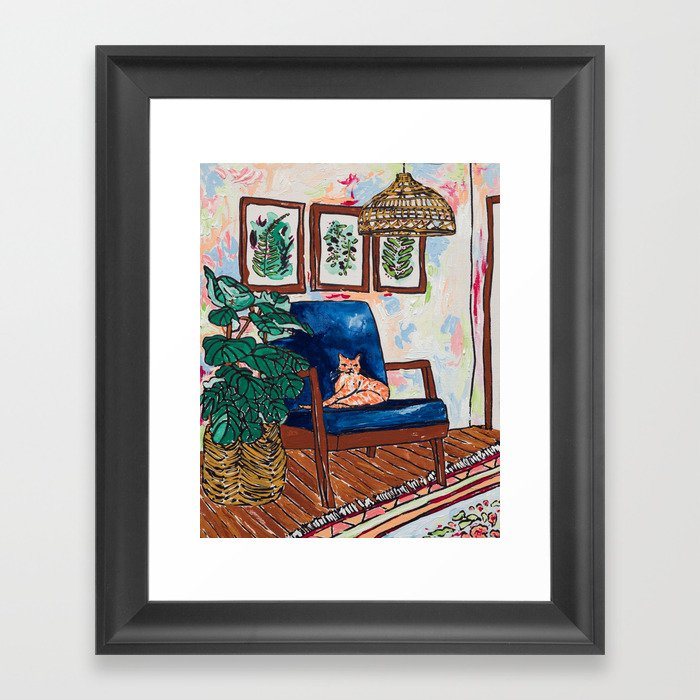 Ginger Cat on Blue Mid Century Chair Painting Gerahmter Kunstdruck