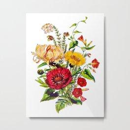 Exotic Flower Antique Heirloom Bouquet, Original Aquatint Watercolor, PNG 3 Metal Print