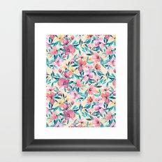 Peach Spring Floral in Watercolors Framed Art Print