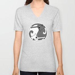 Yin and yang cats Unisex V-Neck