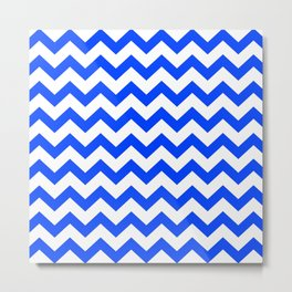 Chevron Texture (Blue & White) Metal Print