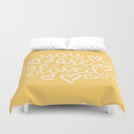 You Are Loved, Sunny Golden Typography Duvet Cover