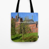 downton abbey Tote Bags featuring Downton Desire by Nonna Originals
