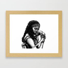 Drawing of Michonne from the Walking Dead Framed Art Print