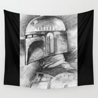 boba Wall Tapestries featuring Boba Fett by The Art of Joshua Davis