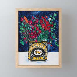 Wild Flowers in Golden Syrup Tin on Blue Framed Mini Art Print