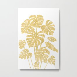 Delicate Monstera Golden #society6 Metal Print