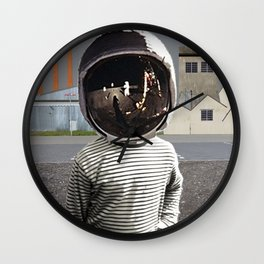 Space Kid in illusion City Wall Clock