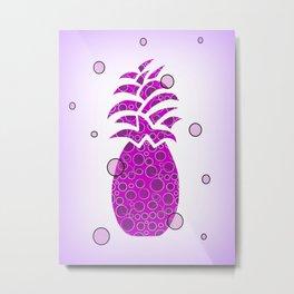 Pineapple In Purple Metal Print