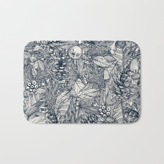 forest floor indigo ivory Bath Mat