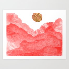 Red watercolor abstract mountains and moon Art Print