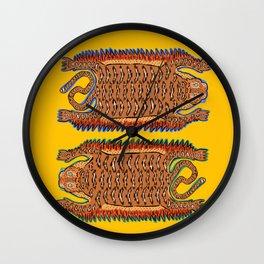 Vintage Sleepy Tigers | Yellow Wall Clock