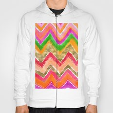 Shocking Pink & Gold Ikat Hoody