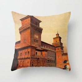 Castello Estense Ferrara Italy Throw Pillow