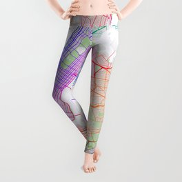 New York City Map of the United States - Colorful Leggings