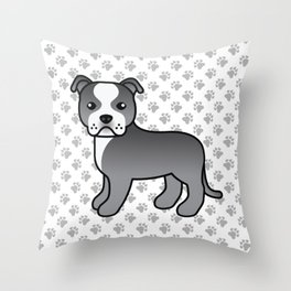 Blue And White English Staffordshire Bull Terrier Cartoon Dog Throw Pillow