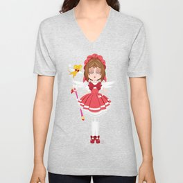Mini Me Stars: Red Sakura Unisex V-Neck