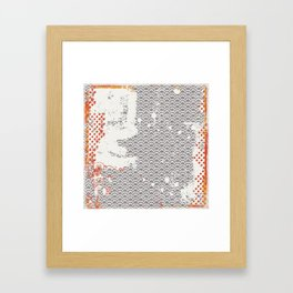 Crayon Bright Grey Geometric Shabby Abstract Collage Print Framed Art Print