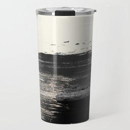 Artistic ivory black gold glitter paint brushstrokes Travel Mug