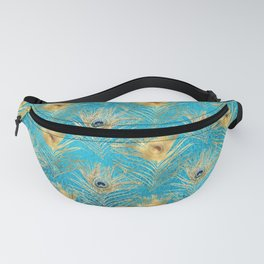 Beautiful Teal & Golden Peacock Feather Pattern Fanny Pack