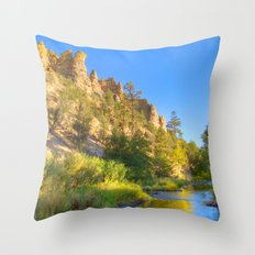 River and Cliffs Throw Pillow